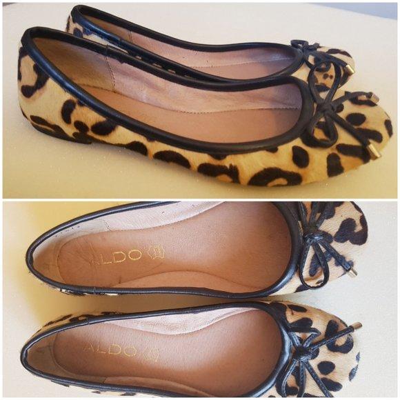 ALDO pony hair leather trim leopard ballet flats